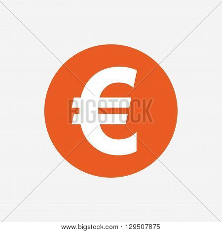 Euro sign icon. EUR currency symbol. Money label. Orange circle button with icon. Vector
