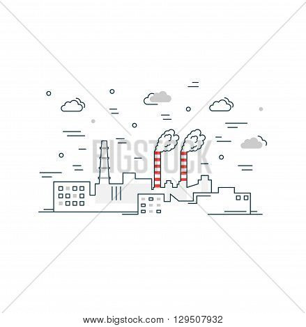 Industrial factory buildings icon. Vector outline illustration. Factory Landscape.