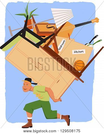 Mover with a pile of furniture, EPS8 vector illustration