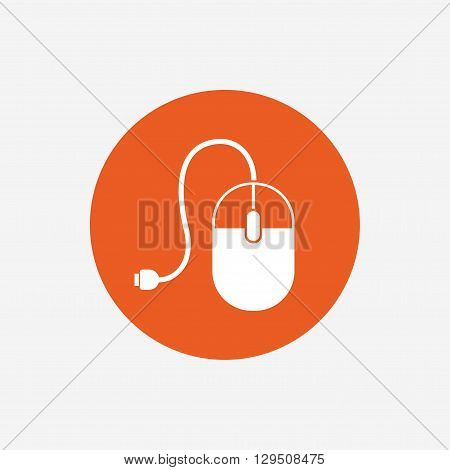 Computer mouse sign icon. Optical with wheel symbol. Orange circle button with icon. Vector