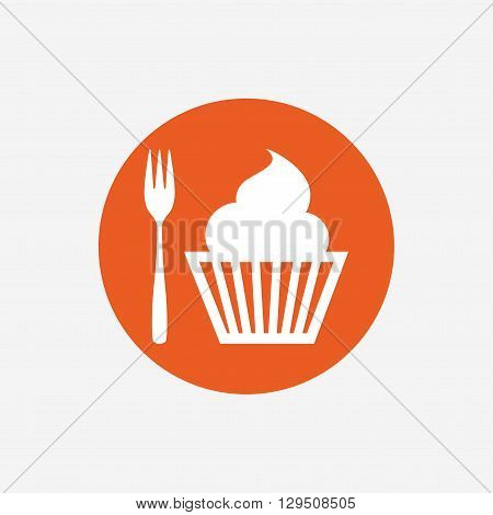 Eat sign icon. Dessert trident fork with muffin. Cutlery symbol. Orange circle button with icon. Vector