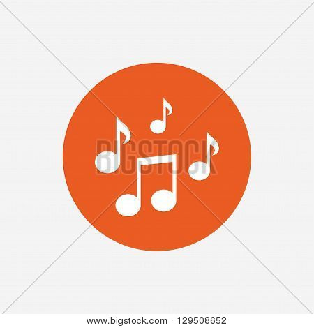 Music notes sign icon. Musical symbol. Orange circle button with icon. Vector
