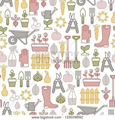 seamless pattern with colorful gardening icons
