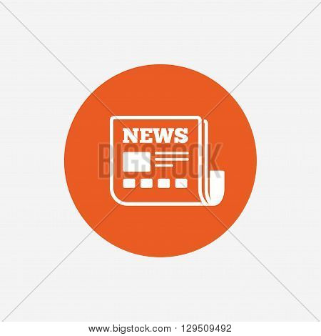 News icon. Newspaper sign. Mass media symbol. Orange circle button with icon. Vector