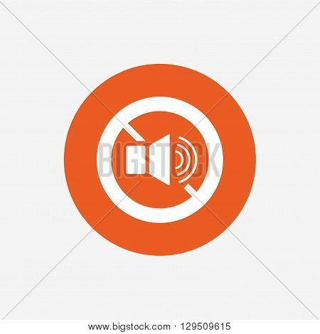 Speaker volume sign icon. No Sound symbol. Orange circle button with icon. Vector