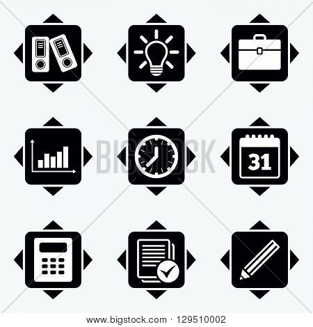 Icons with direction arrows. Office, documents and business icons. Accounting, calculator and case signs. Ideas, calendar and statistics symbols. Square buttons.