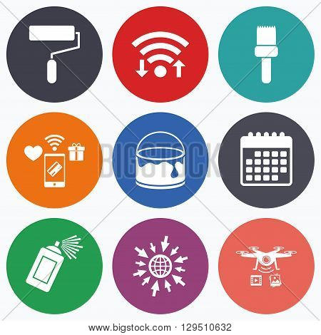 Wifi, mobile payments and drones icons. Painting roller, brush icons. Spray can and Bucket of paint signs. Wall repair tool and painting symbol. Calendar symbol.