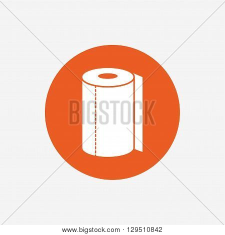 Paper towel sign icon. Kitchen roll symbol. Orange circle button with icon. Vector
