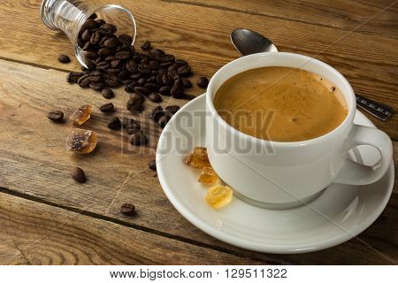 White mug of morning coffee. Coffee cup. Cup of coffee. Strong coffee. Morning coffee