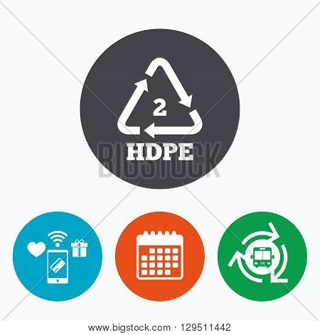 Pe-hd 2 icon. Polyethylene high-density sign. Recycling symbol. Mobile payments, calendar and wifi icons. Bus shuttle.