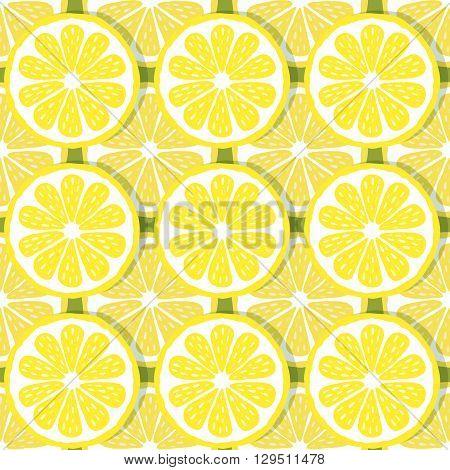 seamless pattern of lemons-vector illustration. Bright print texture lemon yellow. Natural bright lemon. Lemon wedges are symmetrical. Lemon fruit.