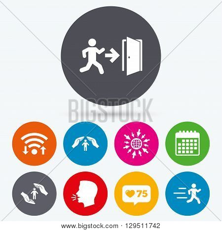Wifi, like counter and calendar icons. Life insurance hands protection icon. Human running symbol. Emergency exit with arrow sign. Human talk, go to web.