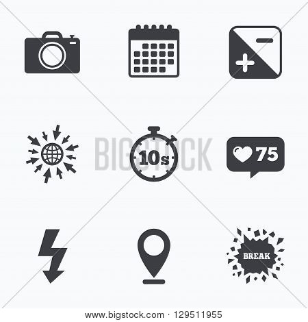 Calendar, like counter and go to web icons. Photo camera icon. Flash light and exposure symbols. Stopwatch timer 10 seconds sign. Location pointer.