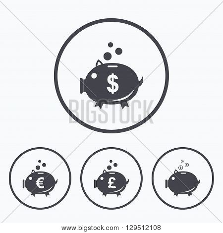 Piggy bank icons. Dollar, Euro and Pound moneybox signs. Cash coin money symbols. Icons in circles.