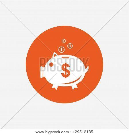 Piggy bank sign icon. Moneybox dollar symbol. Orange circle button with icon. Vector