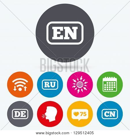 Wifi, like counter and calendar icons. Language icons. EN, DE, RU and CN translation symbols. English, German, Russian and Chinese languages. Human talk, go to web.