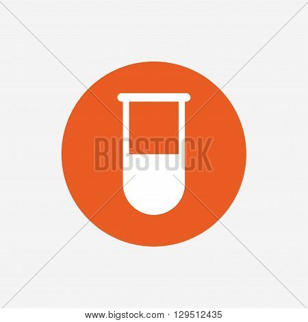 Medical test tube sign icon. Laboratory equipment symbol. Orange circle button with icon. Vector