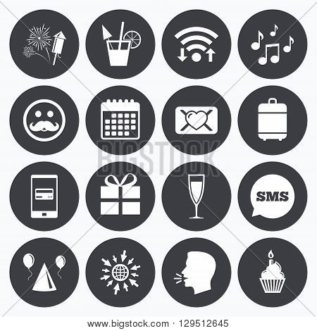 Wifi, calendar and mobile payments. Party celebration, birthday icons. Musical notes, air balloon and champagne glass signs. Gift box, fireworks and cocktail symbols. Sms speech bubble, go to web symbols.