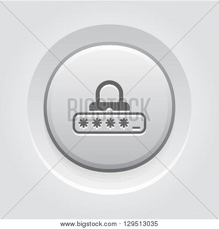 Password Protection Icon. Business Concept Grey Button Design