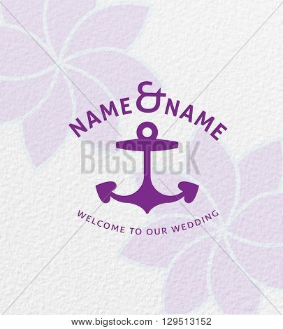 BEAUTIFUL VECTOR ANCHOR WEDDING LOGO / ICON
