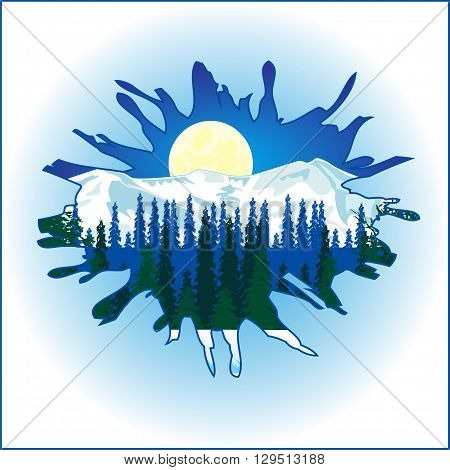 The Winter landscape through hole in wall.Vector illustration