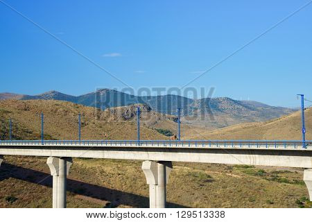 view of a high-speed viaduct in Purroy, Zaragoza, Aragon, Spain. AVE Madrid Barcelona.