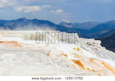 Mammoth Hot Springs in Yellowstone National Park - Wyoming, USA