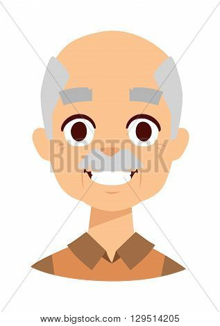 Laughing old elder senior healthy man portrait smiling grandpa. Smiling grandpa vector illustration and smiling grandpa mature retired older citizen. Smiling grandpa handsome friendly expression man.