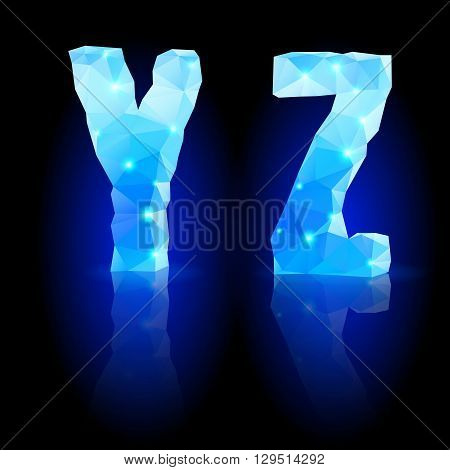 Shiny blue polygonal font. Crystal style Y and Z letters with reflection on black backround