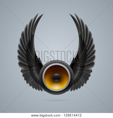 Music speaker with two crow wings up.