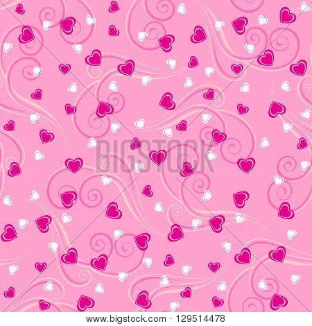 Seamless pattern background with hearts and tendrils in pink colors