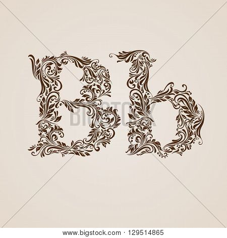 Handsomely decorated letter b in upper and lower case.