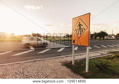 Cabedelo Paraiba Brazil - May 12 2016 - Car on highway on crosswalk