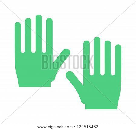 Spring green gloves cartoon vector illustration. Woman leather spring gloves isolated on white. Spring gloves fashion accessory. Womens spring gloves. Vector spring gloves. Yellow gloves couple