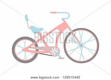 Stylish womens pink bicycle isolated on white background wheel pedal transportation vector. Cute pink bicycle isolated and girl pink bike. Romantic sport pink bike retro transport cute design.
