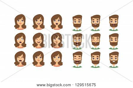 Human emotion face expression icons and beauty human emotion face vector. Isolated set of Human emotion face avatar expressions face emotions vector illustration. Human emotion face set.