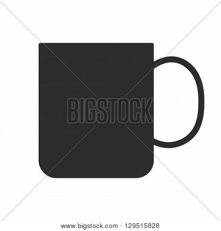 Coffee or tea cup. Mug for drinks. Black silhouette mugs, dishes. Flat icon. Vector illustration