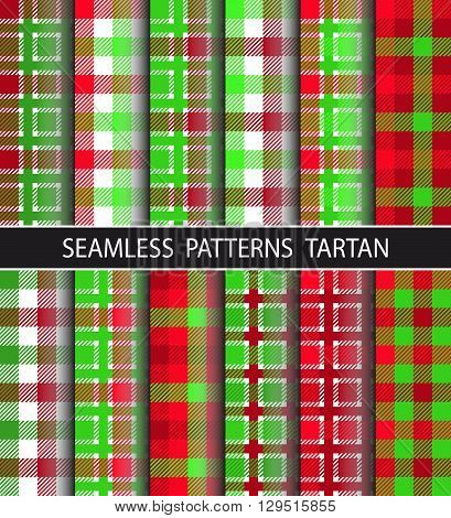 Checkered pattern in large and small checks. Set seamless pattern tartan. Image is suitable for the design of packaging home textile flannel shirts umbrellas etc. Trendy hipster style background