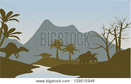 Silhouette of dinosaur in riverbank at the morning