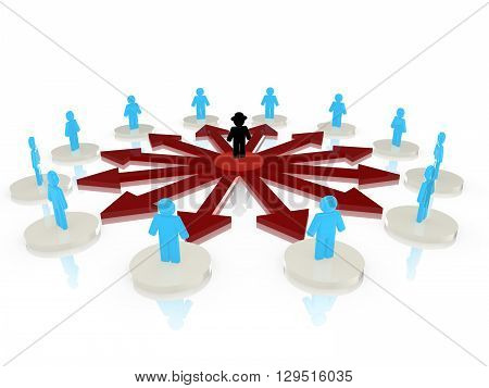 Hacker with black hat in the center of a circular network attacking people standing on platforms around him 3D illustration