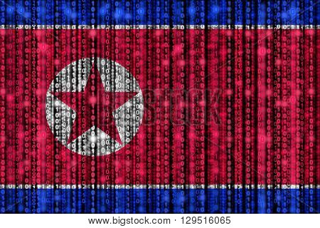 North Korean flag texture with digital zeros and ones strains glowing in the national colors