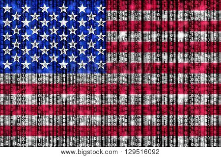 American flag texture with digital zeros and ones strains glowing in the national colors