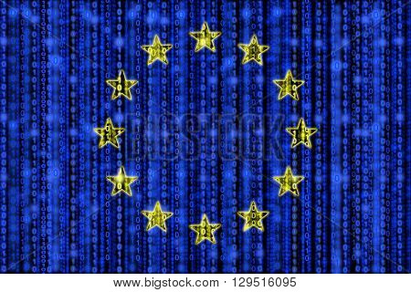 European flag texture with digital zeros and ones strains glowing in the blue background and yellow star circle
