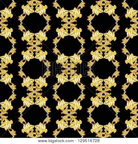 Vertical seamless gold floral pattern on black background