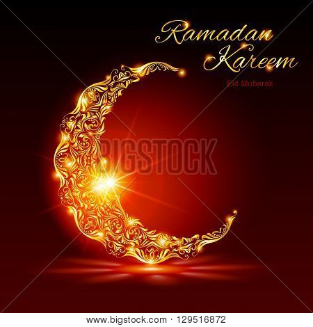 Glowing ornate crescent with bright flare and radiance in red shades. Greeting card of holy Muslim month Ramadan