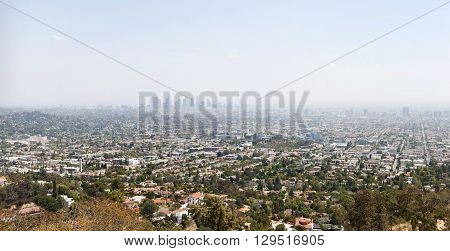 Aerial panoramic view on Los Angeles at noon