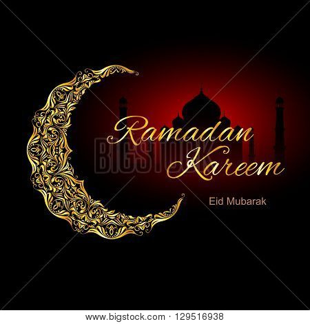 Golden ornate crescent with mosque on black and red background. Greeting card of holy Muslim month Ramadan