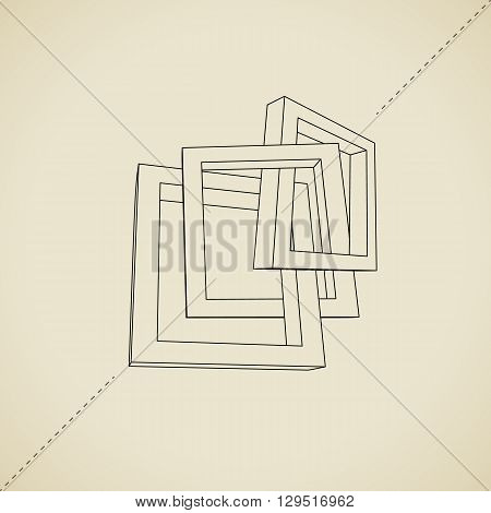 Three schematic rectangular 3D frames for your presentation