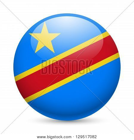 Flag of Democratic Republic of the Congo as round glossy icon. Button with flag design
