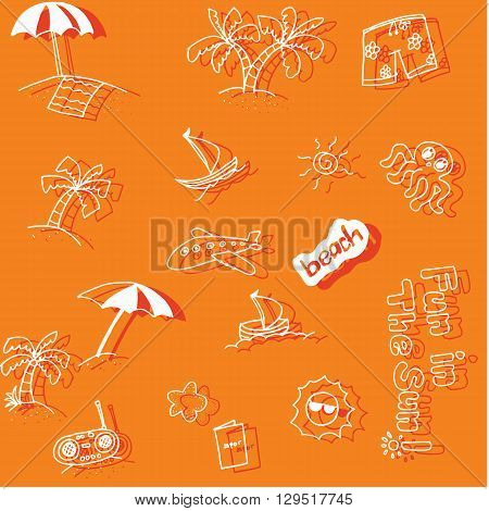 Holiday beach doodle art with orange backgrounds